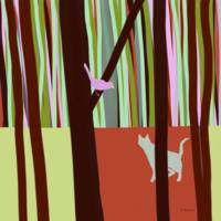 Cat and Bird in the Forest