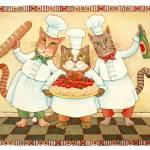 """Chef Cats with Spaghetti"" by ddhearn"