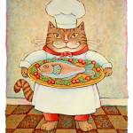 """Chef Cat with Fish"" by ddhearn"