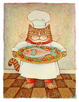Chef Cat with Fish