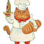 """Chef Cat with Wine & Bread"" by ddhearn"