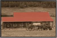 Country Western Barn and wagon, tractor