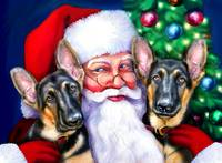 Santa's German Shepherd Dogs at Christmas