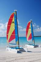 Sailboats at Halfmoon Cay, Bahamas