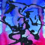 """""""Red to Blue abstract watercolor with Black outline"""" by rozine"""