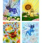 """Seasonal Fairy Cats , Spring, Summer, Fall, Winter"" by tigerpixie"