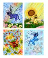 Seasonal Fairy Cats , Spring, Summer, Fall, Winter