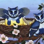 """Blue Jay Kittens , Bird Cats"" by tigerpixie"
