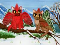 Cardinal Cats , Winter Bird Cat