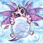 """Bubble Fairy Kitten , Winged Fairy Cat"" by tigerpixie"