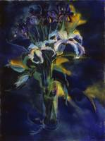 Blue Irises and Lilies