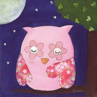 A Pink Owl's Summer Night In The Tree
