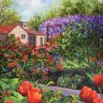 """Garden with Tulips and Wisteria"" by susansartgallery"