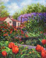 Garden with Tulips and Wisteria