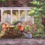 """Flower Pots and a Flower Barrel"" by susansartgallery"
