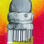 """Paintbrush with UPC bristles."" by rozine"