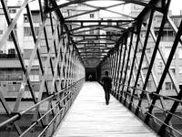 Eiffel's bridge in Girona in black and white