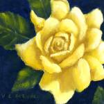 """Yellow Rose Art in Blue"" by Lenora"