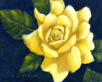 Yellow Rose Art in Blue