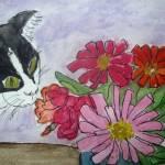 """Cat & Zinnias"" by magnoliadorn"