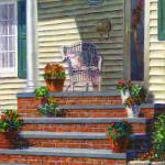 """Porch with Pots of Geraniums"" by susansartgallery"