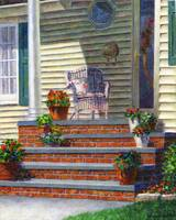 Porch with Pots of Geraniums