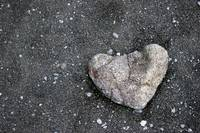 Heart shaped rock at Punalu'u Beach