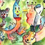 """Characters # 8 Watercolor & Ink By Ginette Callawa"" by GinetteCallaway"