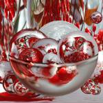"""Red Snow Berries Bowl of Circles"" by tricia"