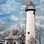 """pointe aux Barques Lighthouse painting"" by derekmccrea"