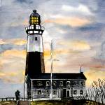 """montauk point lighthouse painting new york art"" by derekmccrea"