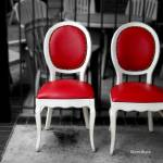 """Red and White Chairs"" by paintapixel"