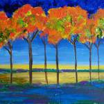 """Expressionist Trees at Dawn"" by reneefauvestudio"