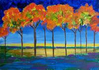 Expressionist Trees at Dawn