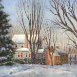 """Blue House in Winter"" by susansartgallery"