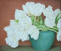 White tulips in blue vase