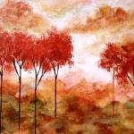 """Burning Promise Skinny Red Autumn Trees Landscape"" by Itaya"