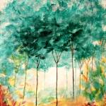 """Abstract Landscape Art Trees Painting Skinny Trees"" by Itaya"