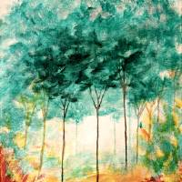 Abstract Landscape Art Trees Painting Skinny Trees Art Prints & Posters by Itaya Lightbourne