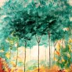 """A Stroll In The Park Abstract Landscape Art Trees"" by Itaya"