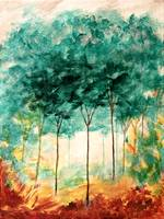 A Stroll In The Park Abstract Landscape Art Trees