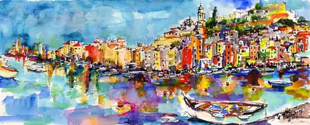 Portovenere Italy Original Painting by Ginette Cal