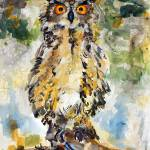 """Great Horned Owl Original Painting by Ginette"" by GinetteCallaway"
