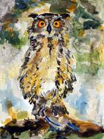 Great Horned Owl Original Painting by Ginette
