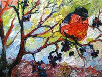 Red Bird & Black Berries Print from Original Oil
