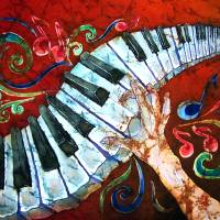 Music - Crazy Fingers - Piano Keyboard Art Prints & Posters by Sue Duda