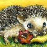 """Little hedgehog and apple"" by tanyabond"