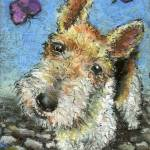 """Wire haired fox terrier and butterflies"" by tanyabond"