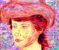 red hair and renoir hat
