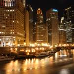 """Wacker Drive and Chicago river at night"" by nicelysighted"